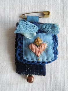 Embroidered heart, exvoto, scapular, sacred heart, natural indigo, indigo dyed by giovabrusa
