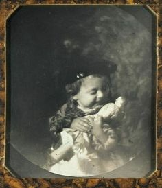 Little Bobby Biewend and his much loved dolly. This is such a precious photo, and it has an exact date, Oct. 4, 1846.
