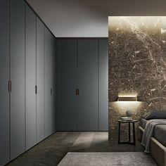 composizione Cover con struttura in alluminio brown, ante in vetro laccato opaco grigio ardesia.