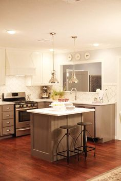 HGTV's Fixer Upper love the island and how the kitchen isn't too big but big enough!