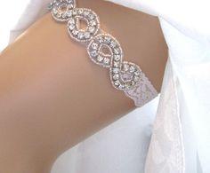 Crystal Rhinestone Bridal Garter, Infinity Symbol White Lace Wedding Garter, Keepsake or Toss Garter, Love Forever Bridal Boutique