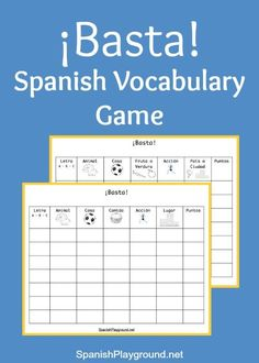 Printable Basta game boards with categories for Spanish learners. Fun Spanish vocabulary games for kids! http://www.spanishplayground.net/basta-game-spanish-vocabulary/