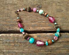 Handmade beaded Jewellery - bright, boho & fun by reccabella Handmade Beaded Jewelry, Boho Jewelry, Beaded Jewellery, Unique Jewelry, Beaded Anklets, Beaded Necklace, Beaded Bracelets, Ankle Chain
