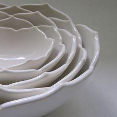 Ceramic Nesting Lotus Bowls Set of Five in White