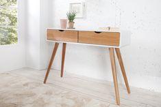 """Design Retro Konsole SCANDINAVIA weiß Eiche 100cm Schreibtisch mit 2 Schubladen Sekretär - Die stylische Design Retro Konsole """"SCANDINAVIA """" ist ein wahrer Hingucker unter den Designtischen. Sie sorgt"""