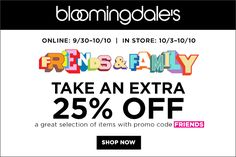 25% Off During #Friends and #Family #Sale at #Bloomingdales