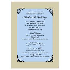 Fancy Frame Corners Blue Baptism Invitation