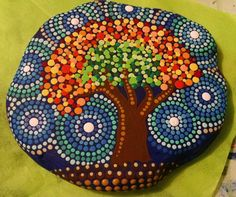 Painted Beach Stone Tree of Life by Miranda by P4MirandaPitrone