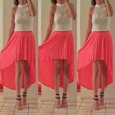 Top, skirt and heels.