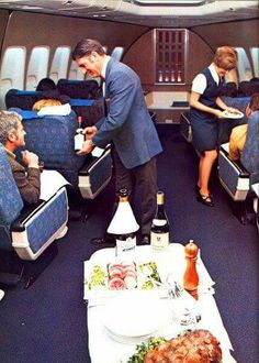 """Qantas Boeing VH-EBA """"City of Canberra"""" and its First Class cabin, circa Loving the fake wood panelling. Very (Image: Qantas Heritage Collection) Airline Travel, Air Travel, Vintage Travel Posters, Vintage Airline, Aircraft Interiors, Jets, Best Airlines, Air New Zealand, Welcome Aboard"""
