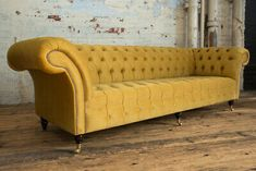 Introducing our 4 Seater Mustard Yellow Velvet Chesterfield Sofa. This 4 seater Chesterfield Sofa consists of a fully deep button and tufted roll back, completed using traditional deep buttoning techniques on serpentine springs. Fabric Settee, Sofa, Vintage Sofa, Velvet Chesterfield Sofa, Living Room Seating, Cool House Designs, Settee Sofa, Sofa Workshop, Chesterfield Corner Sofa