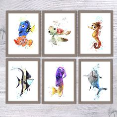 Finding Nemo Disney, Set of 6, Squirt, Sheldon, Gurgle, Gill, Bruce, Dory, Nursery poster, Disney art, Kids room, finding nemo nursery, V31