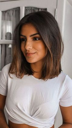 Ideas hair balayage brunette medium long bobs colour for 2019 Medium Hair Cuts, Medium Hair Styles, Curly Hair Styles, Natural Hair Styles, Haircut Medium, Medium Curly, Haircut Short, Haircut Bob, Short Haircuts Shoulder Length