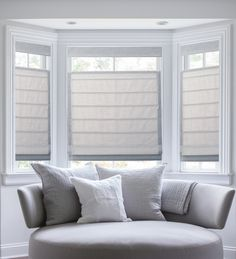 "Top-down bottom-up plain classic pleated Roman shades in ""brie."""