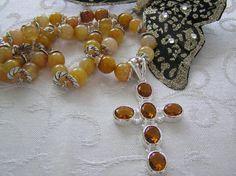 Honey Quartz Cross Necklace