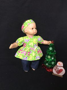 559fac4d28 15 Inch Doll Clothes Handmade to Fit Like American Girl Bitty Baby Doll  Clothes Colorful Fluttering Butterflies on Green Doll Outfit