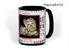 Yorkie Large Size Ceramic Christmas Mug 15 oz Cup Dog Art by SugarspiceArt