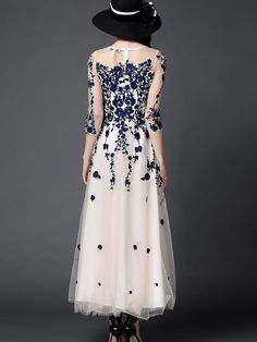 OUSHIYING Embroidered Mesh Evening Dress $146.00