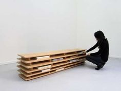 Horizontal Book Benches - Bookcase by Aissa Logerot Reads Versatility and Material Honesty (GALLERY) Bookshelf Bench, Low Bookshelves, Bookcase Plans, Bookshelf Design, Shabby Chic Bookcase, Cherry Bookcase, Horizontal Bookcase, Public Seating, Upcycled Furniture