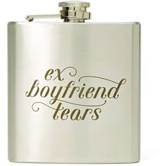 Ex Boyfriend Flask ($18) ❤ liked on Polyvore featuring home, kitchen & dining, bar tools, fillers, food, accessories, flask, extras and silver
