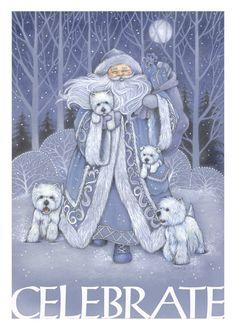 Westie Christmas Card Celebrate by Borgo by BorgoDesigns on Etsy