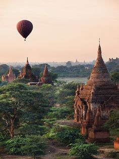 Hot air balloon above ancient temples of Bagan, Myanmar