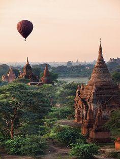 Hot air balloon above ancient temples of Bagan, Myanmar