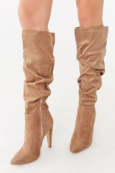 Product Name:Knee-High Slouchy Stiletto Boots, Category:Shoes, Stiletto Boots, High Heel Boots, Suede Boots, High Heels, Boot Shop, Hot Shoes, Vintage Style Outfits, Forever 21, Slouchy Boots