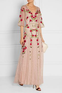 Temperley London | Antila embroidered cotton-blend lace maxi dress | NET-A-PORTER.COM