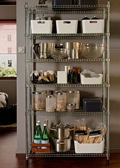 Best small kitchen ideas for your home. - Considering a IKEA Omar shelf for our kitchen, so tired of the mess. Kitchen Ikea, Kitchen Pantry, Kitchen Decor, Ikea Kitchen Storage, Kitchen Racks, Bakery Kitchen, Ikea Omar, Open Pantry, Cocina Diy