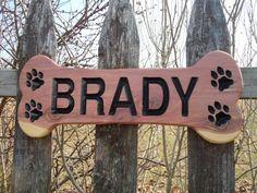 Dog Bone Shaped Sign Family Pet Name Personalized by TKWoodcrafts