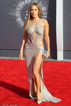 More cut out than dress: Jen rocked an amazing Charbel Zoe cut out gown to the Video Music...
