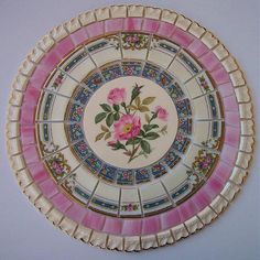 "China Mosaic Tile Set 8 1/2"" Arrangement Design Shabby Pink Wild Rose Blue Stained Glass Tesserae Broken Plate Mosaic Art Supply"