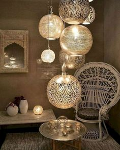 15 Fabulous Moroccan Room Decoration Ideas Moroccan interior is very exotic with the combination of strong colors for the accents and layers of textures and patterns. You will find the unique shape of furniture or decorations that will bring t Morrocan Decor, Moroccan Room, Moroccan Interiors, Moroccan Lanterns, Modern Moroccan Decor, Moroccan Lighting, Modern Chic Decor, Bohemian Lighting, Bohemian Chic Decor