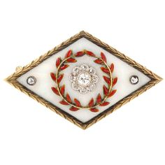 FABERGÉ Enamel Diamond Lozenge-shaped Brooch | From a unique collection of vintage brooches at https://www.1stdibs.com/jewelry/brooches/brooches/