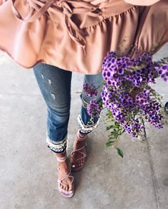 #summer #outfits Pink Blouse + Ripped Skinny Jeans + Beige Sandals
