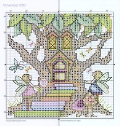 """""""Woodland Hideaway Chart"""" (November) from """"Joan Elliott's 2013 Stitcher's Diary"""" from """"The World of Cross Stitching"""" magazine.  Apologies for the thick line down the centre, but the chart straddles two page of a not very flexible hardback book. The main cross stitches are worked in 2 strands of stranded cotton and the chart lists the colour numbers for Anchor, DMC and Madeira threads. On 14ct canvas the design measures about 12cm/4.75"""" square."""