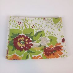 VTG 70s Pillowcase Cannon Edgemont Abstract Floral Orange Red Green Muslin 5050  #EdgemontbyCannon