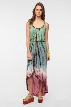Ecote Tie-Dye Beach Maxi Dress from Urban Outfitters. TIE DYE AND HI-LOW HEM! Two of my faves