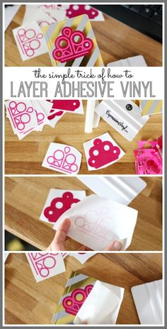 the simple trick of how to layer adhesive vinyl - love this diy craft tutorial! - - Sugar Bee Crafts