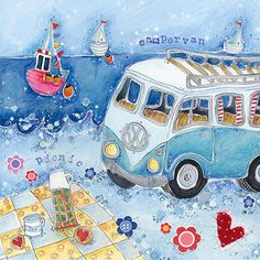 Picnic with blue camper van by Susie Grindey, UK Boat Drawing, Retro Camping, Naive Art, Affordable Art, Coastal Style, Beautiful Paintings, Traditional Art, Folk Art, Original Paintings