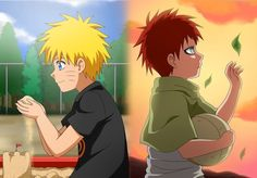 Naruto playing with SAND. Gaara playing with LEAF- their bond was destined