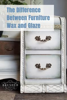 """How do you answer the question, """"Which product is more appropriate for my furniture painting project, wax, or a glaze? There are a few factors that I keep in mind when deciding which finish I want to use. Let's explore the similarities and differences between furniture wax and glaze. #brushedbybrandy #furniturewax #furnitureglaze How To Paint Furniture What Is Furniture Wax Glaze VS Wax How To Paint Furniture DIY Furniture Painting Tutorials DIY Furniture Finishes Painted Furniture S Glazing Painted Furniture, Diy Furniture Finishes, Diy Furniture Renovation, White Painted Furniture, Furniture Wax, Chalk Paint Furniture, Furniture Projects, Furniture Update, Furniture Refinishing"""