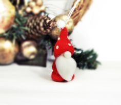 Felt Miniature Gnome Ornament. Needle Felt Eco friendly Christmas Tree Decor. Primitive Gnome Doll. by TheDwarfRam on Etsy https://www.etsy.com/listing/207103389/felt-miniature-gnome-ornament-needle
