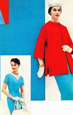 """""""Both the color and the design of this costume give it a slightly Oriental feeling. The slim turquoise sheath has a high empire line with a surprising neckline, short sleeves. Over it, the red wool coat has a frog closing at the neckline. The coat will go happily through the summer as a topper for your cotton dresses. The dress with white accessories will be a summer favorite."""" Vogue S-4682 The Ladies Home Journal, March 1956"""