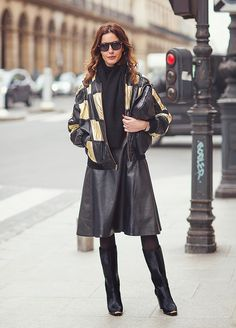 leather printed jacket, tights, and boots are a must-have winter staples