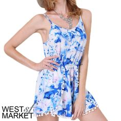 -SALE-  ✨HOST PICK Floral Romper (one left!) Blue pink & white floral print romper! PLEASE COMMENT TO BUY THIS LISTING, I will make a separate listing for you. Please note measurements, item may run different from standard sizing: Length - 29.5in, Waist 27in (stretch), Bust 35.5in. West Market SF Other