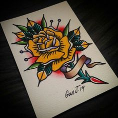 @gusj714 on Instagram. #traditional #tattoo # yellow #rose