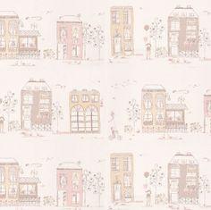 papel pintado casitas rosa, telas & papel