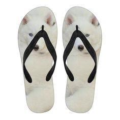 3b6d7558e296 White Husky Puppy Flip Flops For Women. The Whisker Depot